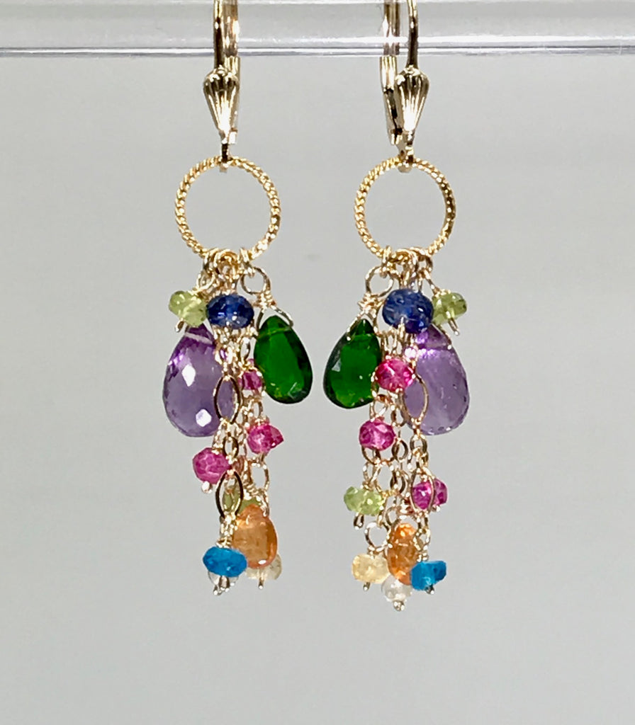 Amethyst Gemstone Multicolor Dangle Earrings - doolittlejewelry