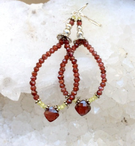Garnet Hoop Earrings Sterling Silver - doolittlejewelry