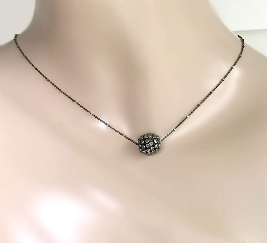 Diamond Slice and Oxidized Silver Pendant Necklace - doolittlejewelry