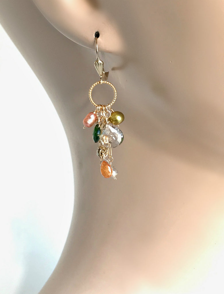 Mystic Smokey Quartz Gemstone Multicolor Dangle Earrings - doolittlejewelry