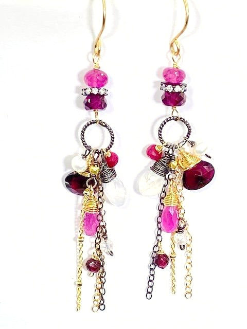 Garnet Long Boho Chain Dangle Earrings Mixed Metal with Sapphire and Moonstone - doolittlejewelry