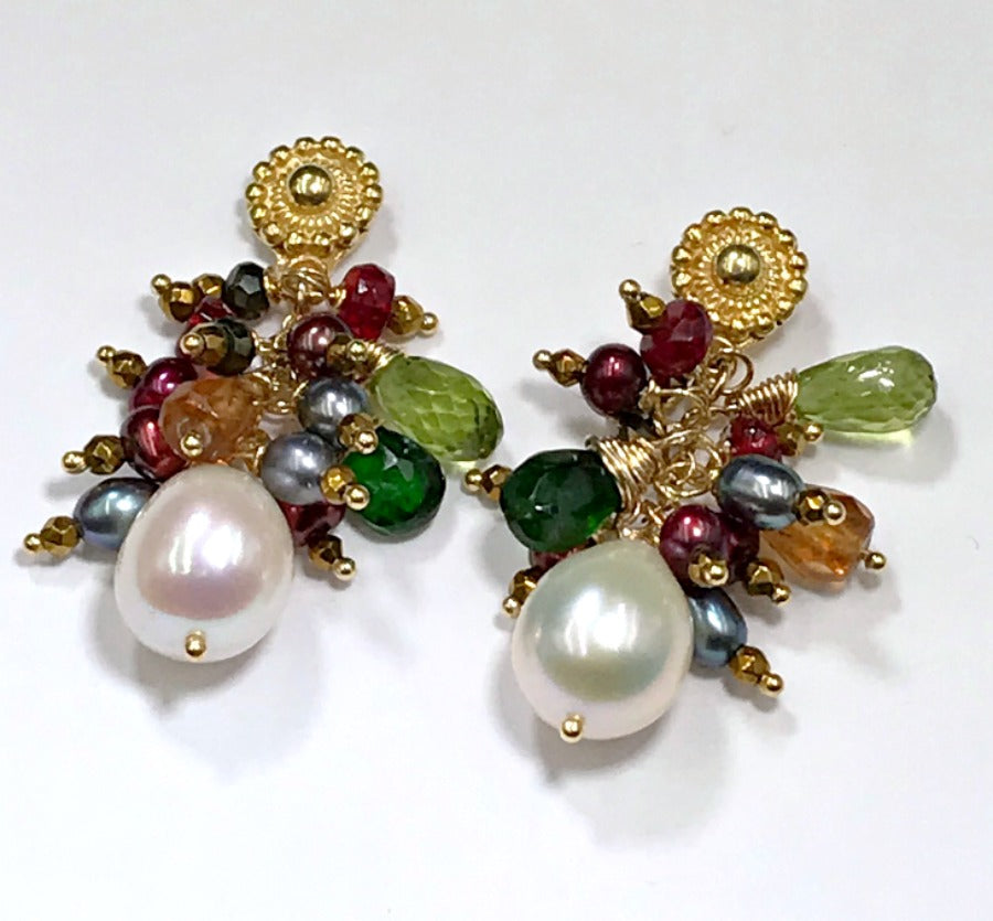 Multi-color Gemstone and Pearl Cluster Gold Post Earrings - doolittlejewelry