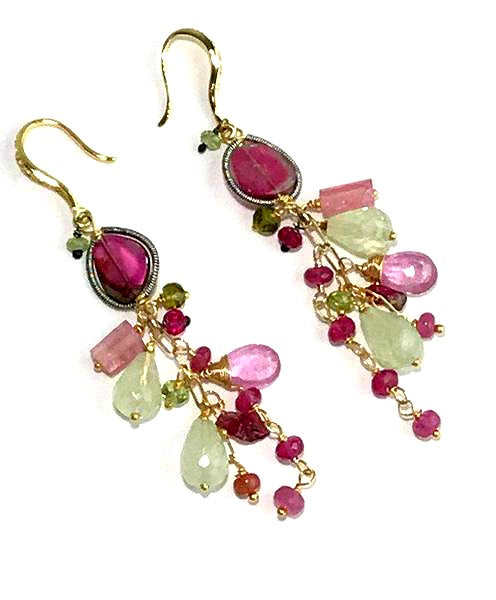 Multicolor Gemstone and Watermelon Tourmaline Slice Earrings - doolittlejewelry