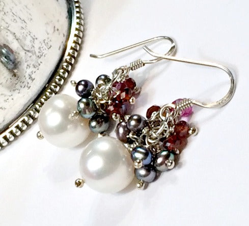 Pearl Cluster Earrings with Garnet and Peacock Pearls - doolittlejewelry