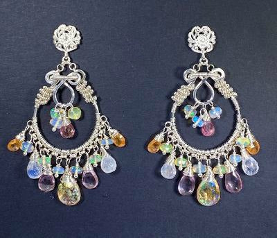 Mystic Citrine Moonstone Opal Pink Topaz Hoop Earrings in Sterling Silver - doolittlejewelry