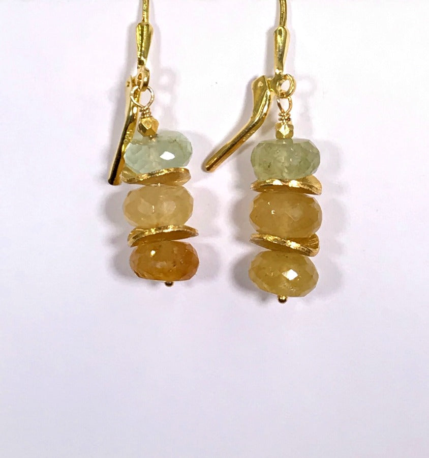 Yellow Aquamarine Gemstone Stack Earrings Gold Leverback - doolittlejewelry