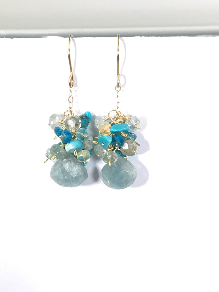 Aquamarine, Gemstone Cluster and Gemstone Dangle Earrings - doolittlejewelry