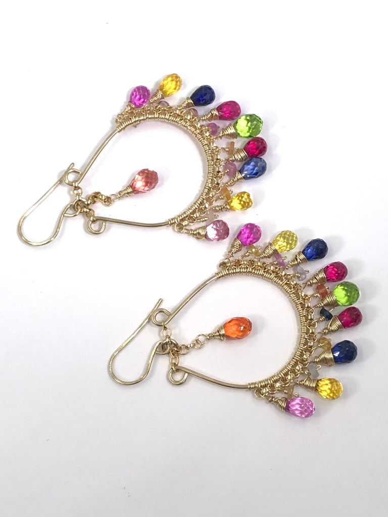 Multicolor Sapphire Gemstone Gold Hoop Earrings Boho Style - doolittlejewelry