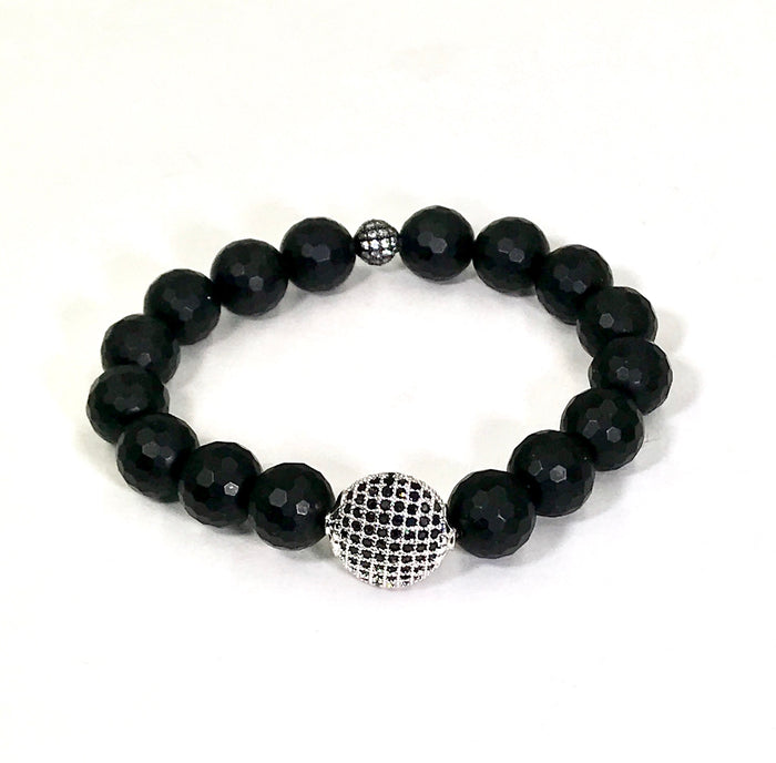 Black Onyx Stretch Bracelet with Silver Pave CZ Stacking - doolittlejewelry