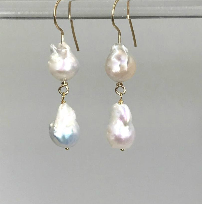 Baroque Pearl Gold Dangle Earrings - doolittlejewelry