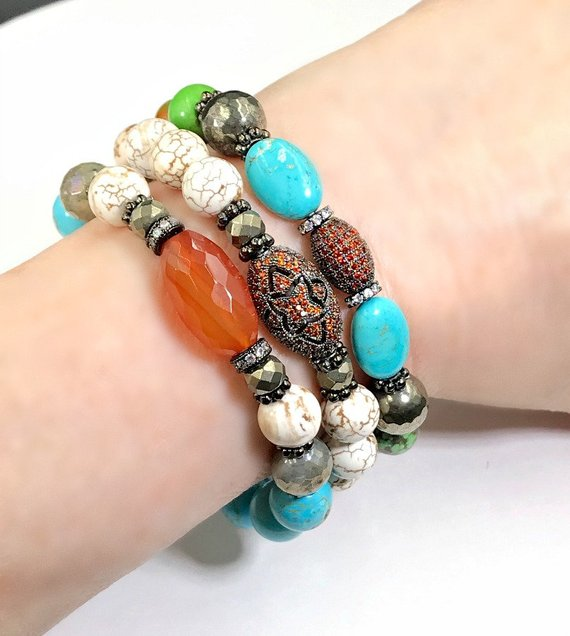 Turquoise, Carnelian Stretch Bracelets Set of 3 Stack - doolittlejewelry