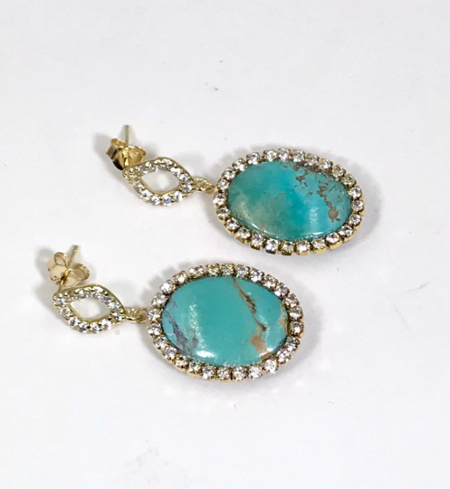 Turquoise Earrings with Gold Pave Crystals - doolittlejewelry