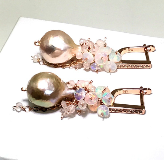 Baroque Pearl Opal Cluster Earrings in Rose Gold - doolittlejewelry