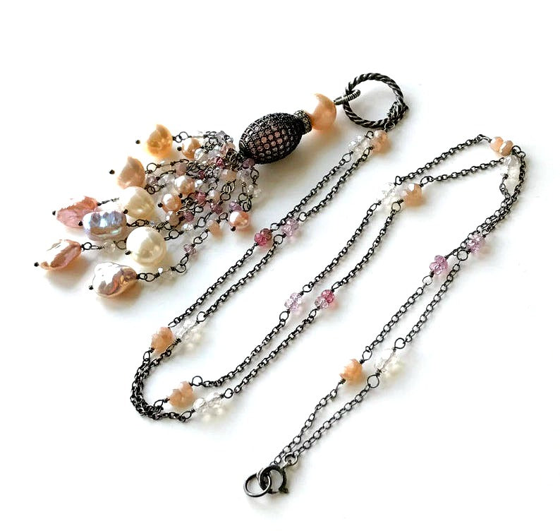 Blush Keishi Pearl Pink Spinel Oxidized Silver Long Tassel Necklace Pave CZ - doolittlejewelry