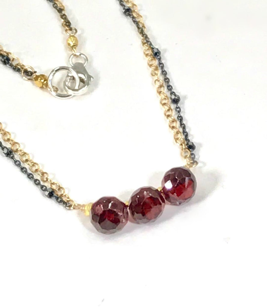 Garnet Necklace Dainty Red Garnet Choker Bar Necklace - doolittlejewelry