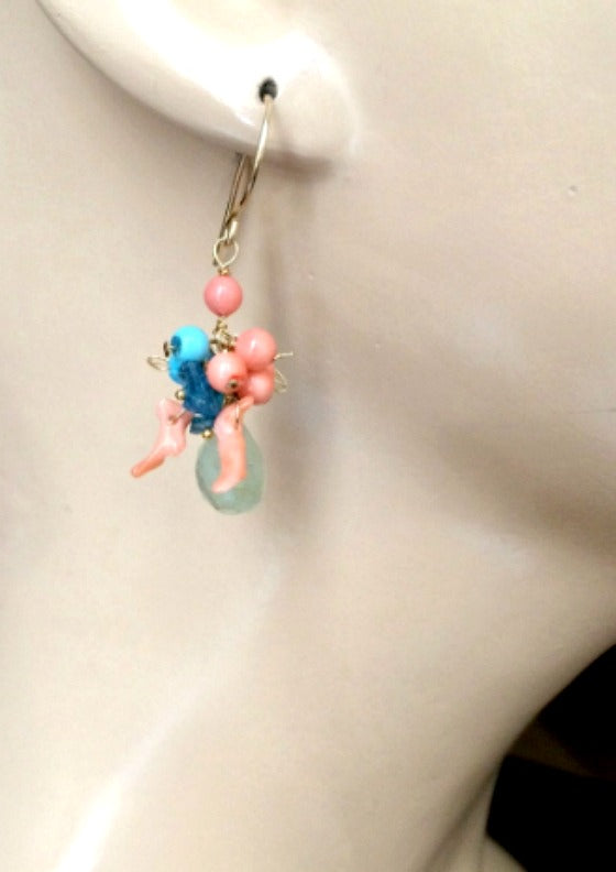 Aquamarine Earrings Coral Turquoise Cluster Gold Fill - doolittlejewelry