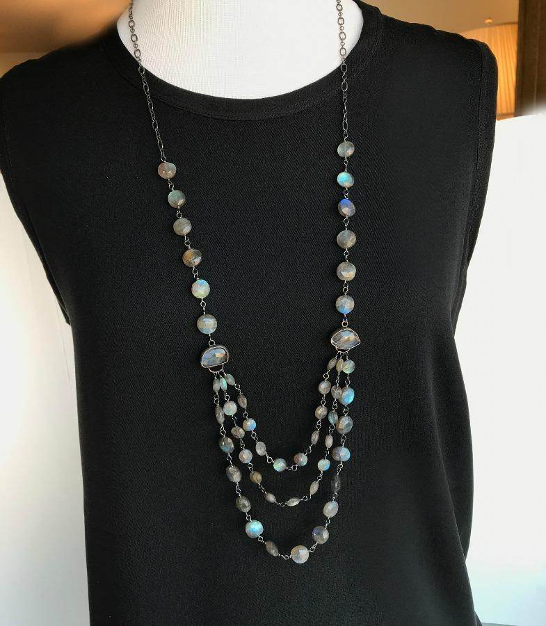 Multi-Strand Long Wire Wrap Labradorite Necklace - doolittlejewelry