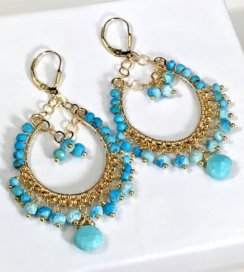 Turquoise Gemstone Gold Hoop Earrings - doolittlejewelry