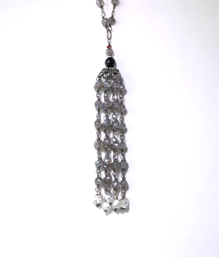 Mystic Labradorite Tassel Necklace Wire Wrapped - doolittlejewelry