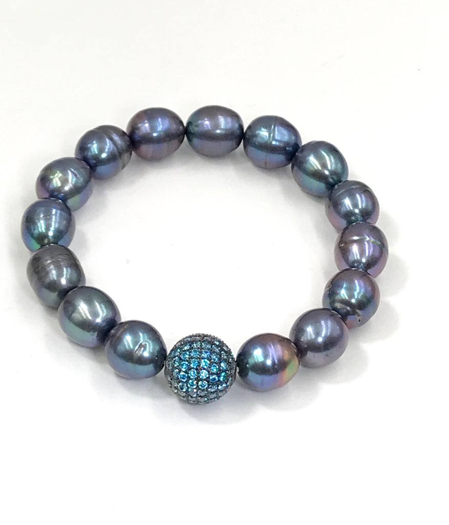 Black Baroque Pearl Stack Beaded Bracelet with Blue Topaz CZ Bead - doolittlejewelry