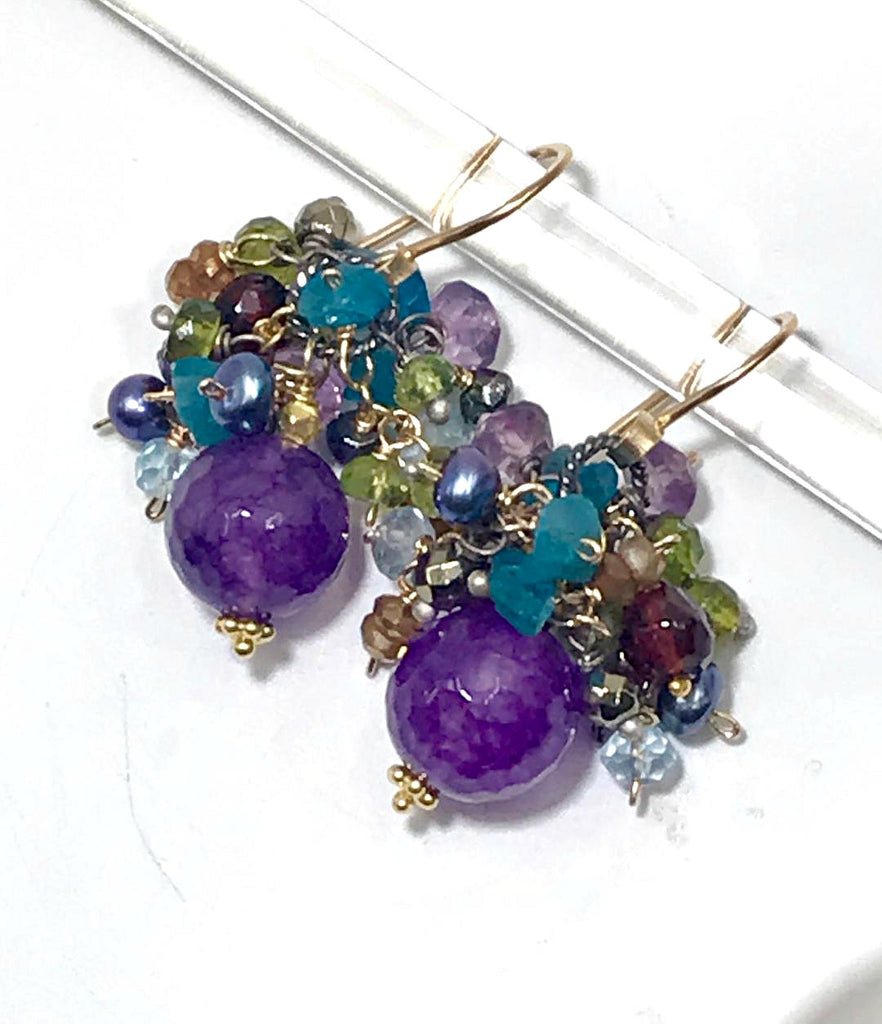 Amethyst Multi Gemstone Cluster Earrings Mixed Metal - doolittlejewelry