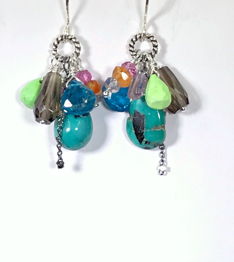 Turquoise and Gemstone Dangle Earrings - doolittlejewelry