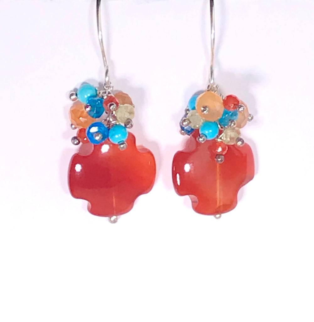 Carnelian Earrings with Multicolor Gemstone Clusters Sterling Silver Dangle Earrings - doolittlejewelry