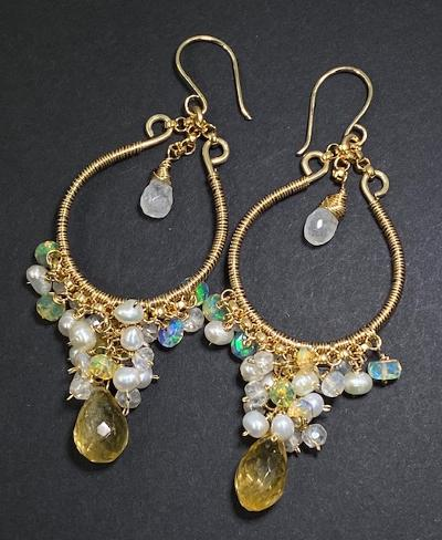 Citrine Gold Fill Hoops with Opal Pearl Moonstone Clusters