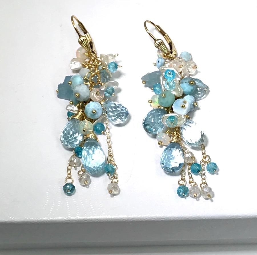 Opals Pearls Crystals and Aquamarine Wedding Earrings - doolittlejewelry
