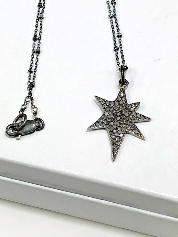 Pave Diamond Star Pendant Layering Necklace - doolittlejewelry