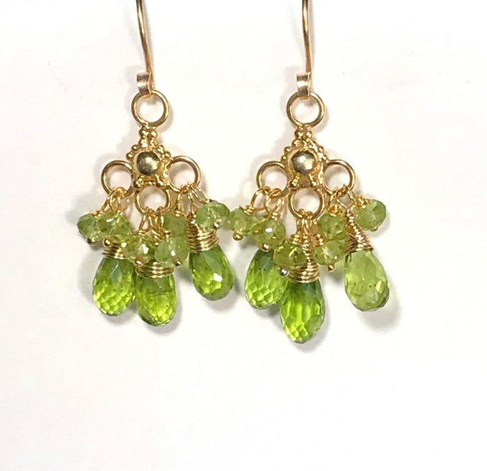Peridot Earrings Gold Chandelier Peridot Cluster - doolittlejewelry