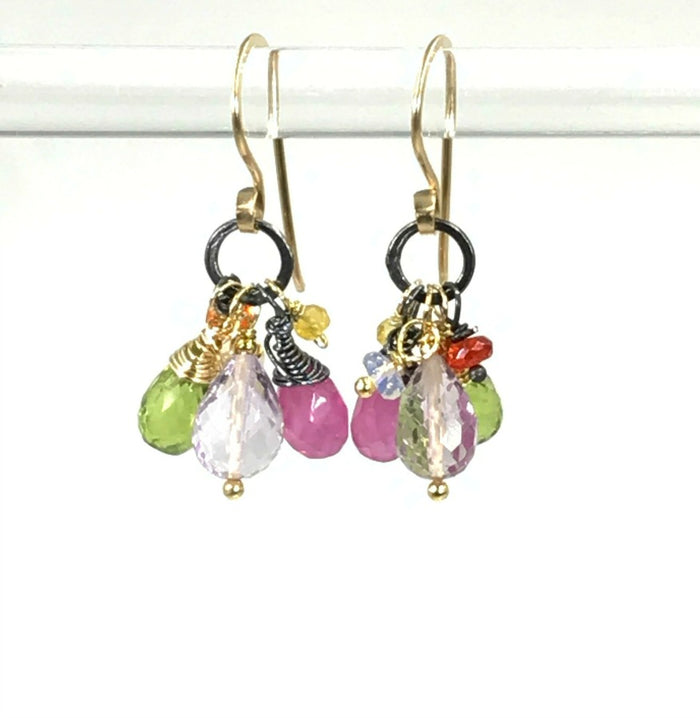 Multi-color Gemstone Dangle Earrings Mixed Metal Peridot Pink Sapphire Amethyst - doolittlejewelry