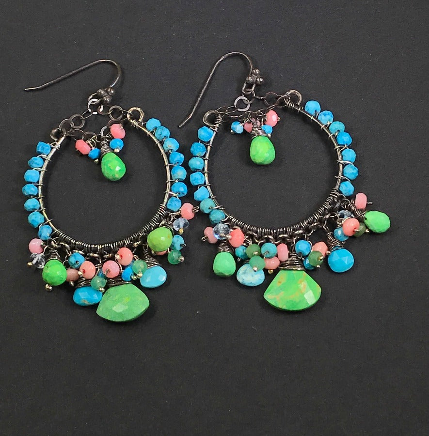 Turquoise Green, Coral  and Oxidized Silver Earrings - doolittlejewelry