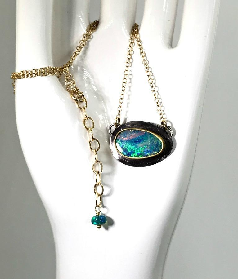Blue, Green Opal 22kt Gold and Silver Necklace - doolittlejewelry