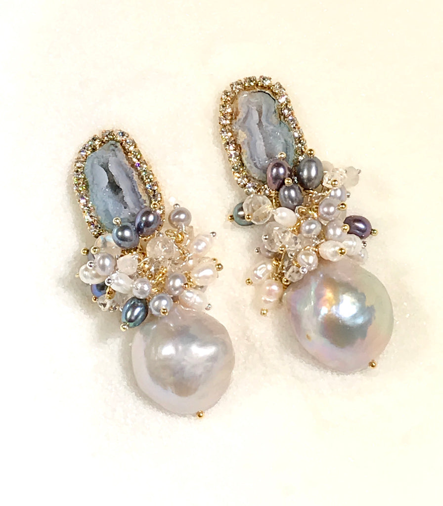 Tabasco Geode and Platinum Pearl Post Cluster Earrings - doolittlejewelry