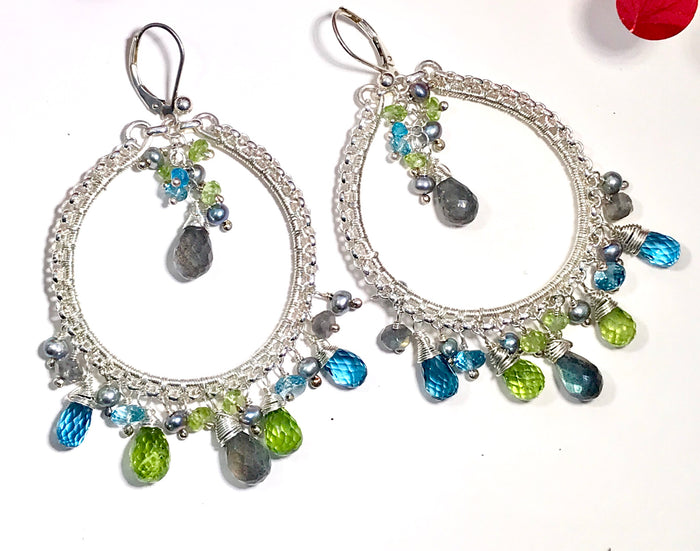 London Blue Topaz Labradorite Hoop Earrings - doolittlejewelry