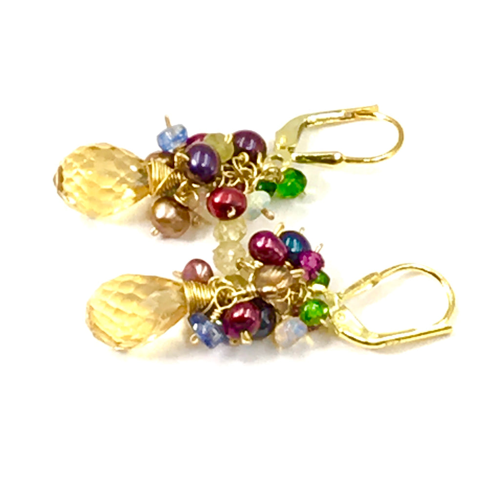 Multi-color Gemstone & Pearl Cluster Earrings Citrine Briolettes Gold - doolittlejewelry