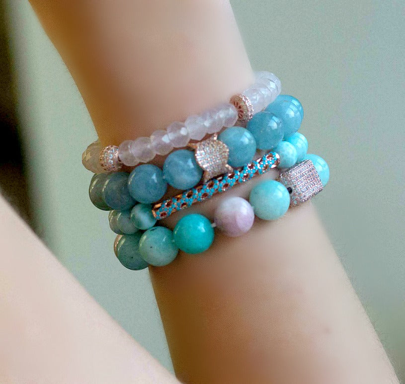 Blue Aquamarine Rose Gold Pave CZ Stretch Stacking Bracelet - doolittlejewelry