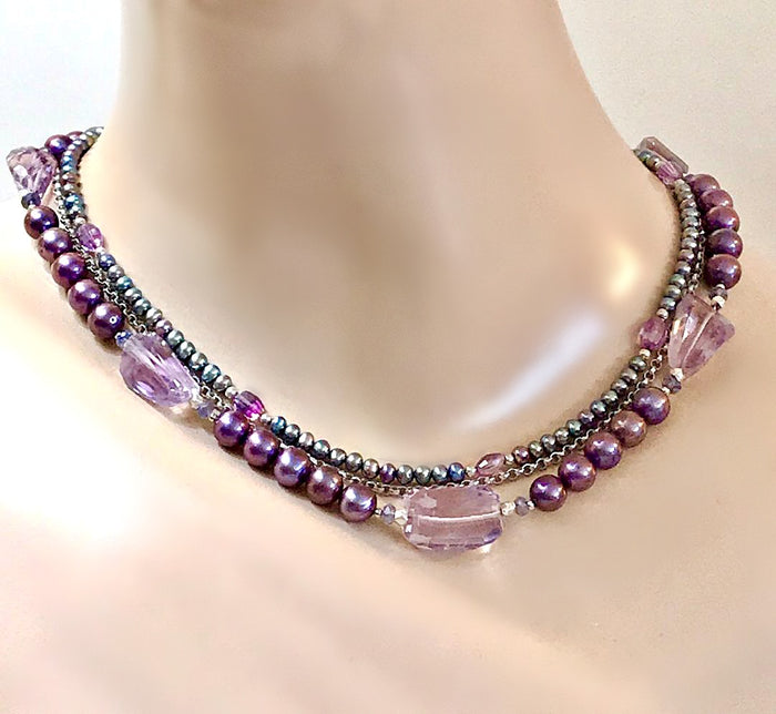 Amethyst and Pearl Multi-Strand Necklace - doolittlejewelry