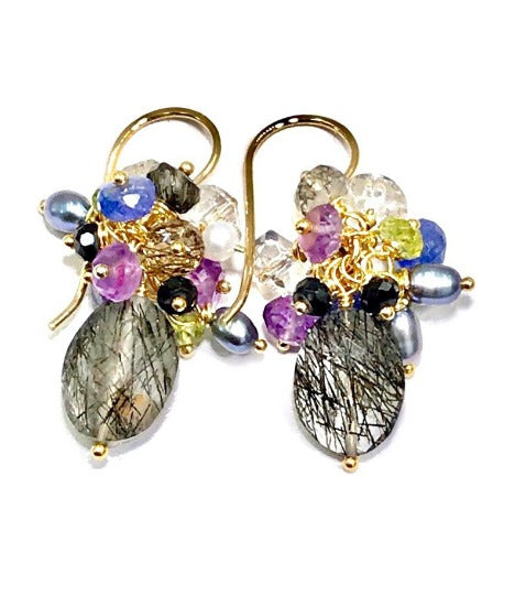 Black Rutilated Quartz Tanzanite Peridot Amethyst Cluster Earrings