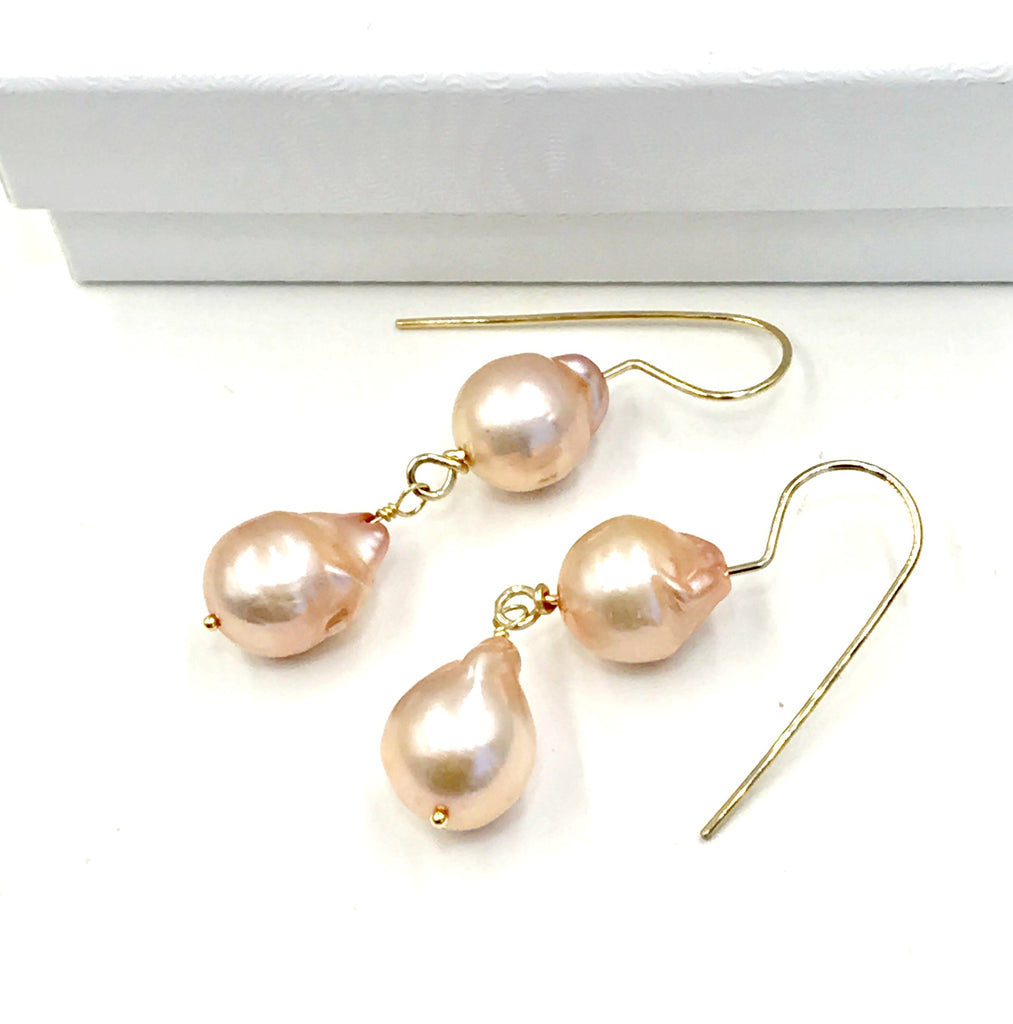 Blush Pink Baroque Pearl Gold Dangle Earrings - doolittlejewelry