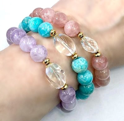 Pastel Gemstone Stretch Stacking Bracelet Set of 3 with Crystal Quartz - doolittlejewelry