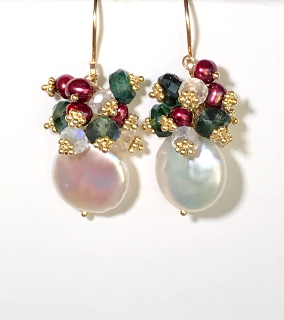 Coin Pearl & Green Moonstone Red Pearl Cluster Earrings - doolittlejewelry