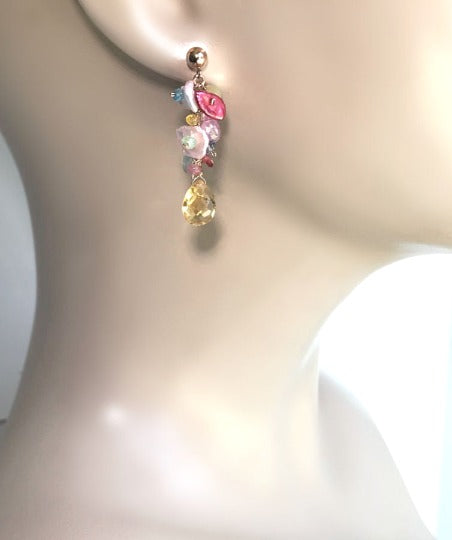 Rose Gold Dangle Earrings Citrine, Keishi Pearl, Yellow, Pink, Blue Gemstone Earrings - doolittlejewelry
