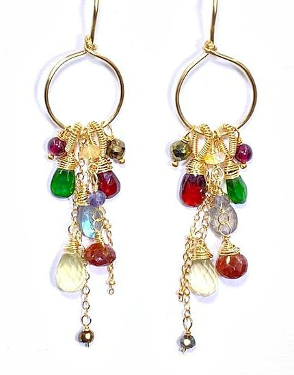 Garnet Colorful Gemstone Gold Hoop Dangle Earrings - doolittlejewelry