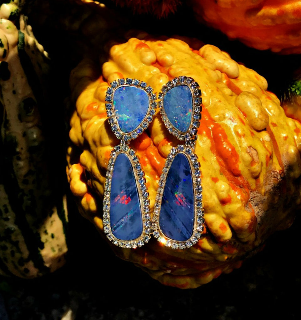 Australian Opal Lightning Ridge Wedding Earring - doolittlejewelry