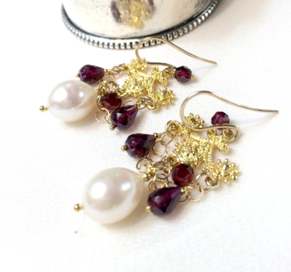 RESERVED - Garnet and Pearl Gold Chandelier Earrings - doolittlejewelry