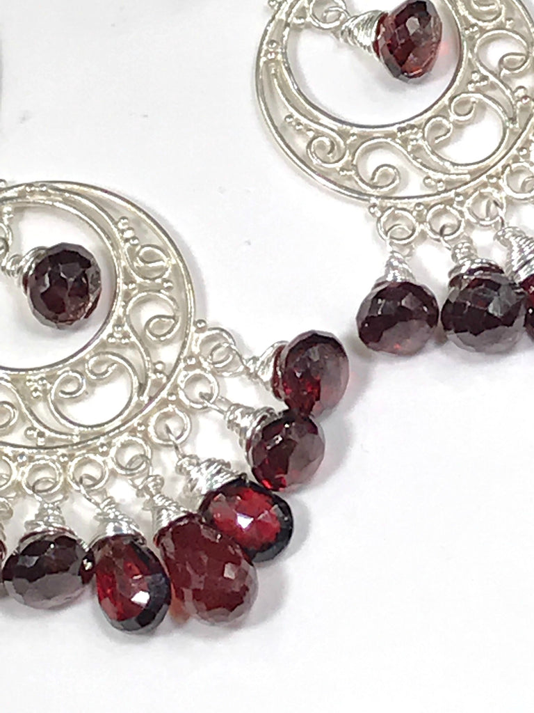 Garnet Chandelier Earrings Sterling Silver Garnet Hoops - doolittlejewelry