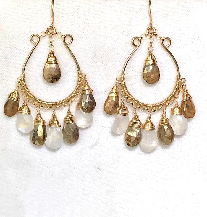 Gold Labradorite Moonstone Hoop Chandelier Earrings - doolittlejewelry