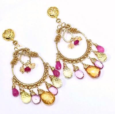 Gemstone Hoop Chandelier Earrings Gold Pastel Pink Topaz & Sapphire - doolittlejewelry